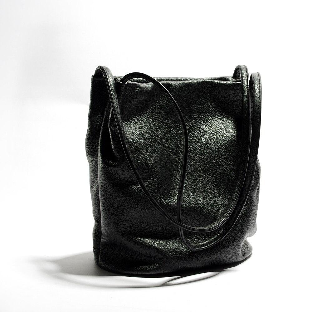 Women Genuine Leather Black Handbags Black Bucket Shoulder Bags Ladies  Cross Body Bags Large Capacity Ladies ec299cf838