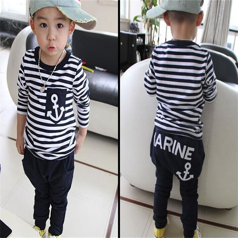 New-2017-Hot-Selling-New-Spring-Kids-Clothes-Navy-Long-Sleeve-Pullover-Striped-Sports-Suit-Casual