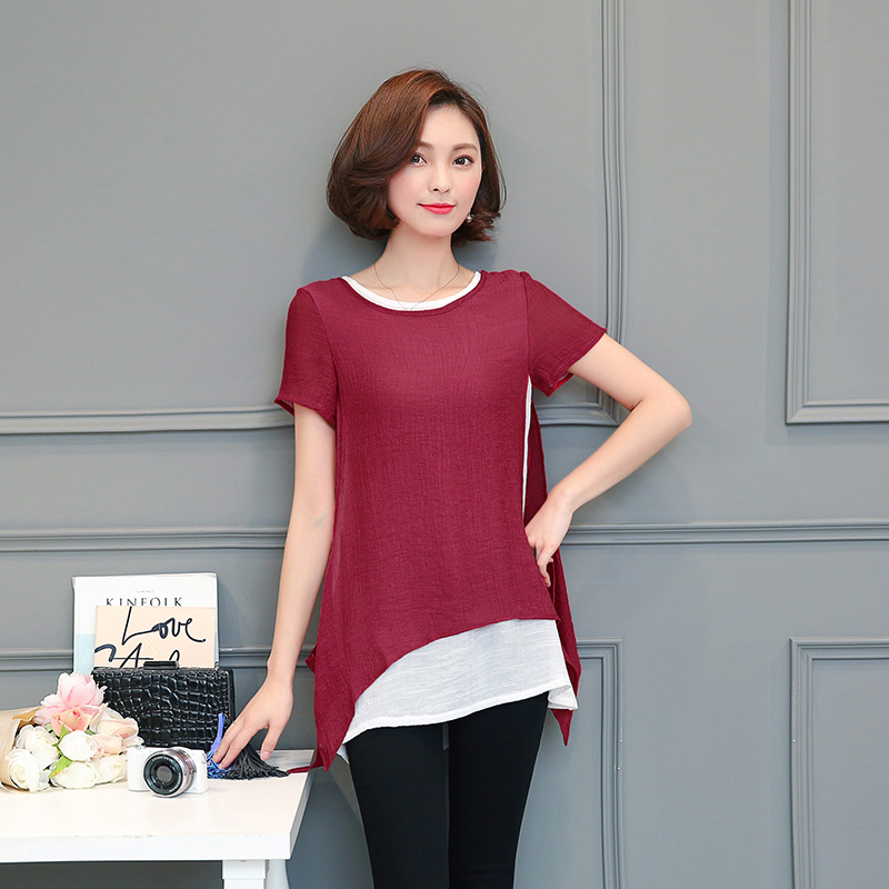 New 2019 chiffon women blouses short sleeve pleated women tops solid red blue Summer beach blouse chemise blusas <font><b>970A</b></font> image