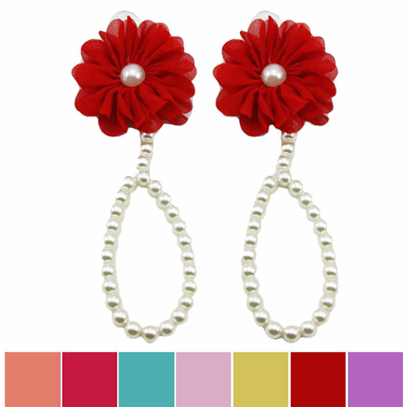 7cacc71c8 ... SUSENSTONE 1Pair Fashion Anklet bracelet Pearl Chiffon Barefoot Toddler  Foot Flower Beach Sandals Cute Baby Accessories ...