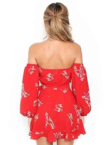 Zomer Zoete Vakantie Strand Dame Vrouwen Bloemenprint Off Shoulder Rode Lange Mouwen Crop Top Rok Party Dress Set Clubwear kleding