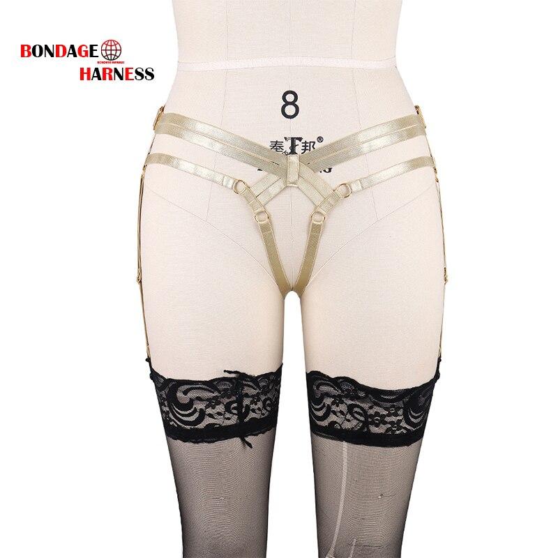 Body Harnas Lingerie Voor Vrouwen Goud Elastische Been Hoge Taille Stocking Jarretelle Jarretellegordel Goth Harajuku Bdsm Bondage Lingerie