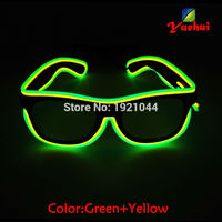 Green Yellow Sound Activated EL Wire Led Glasses Party Lighting Colorful Glowing Classic Toys With DJ