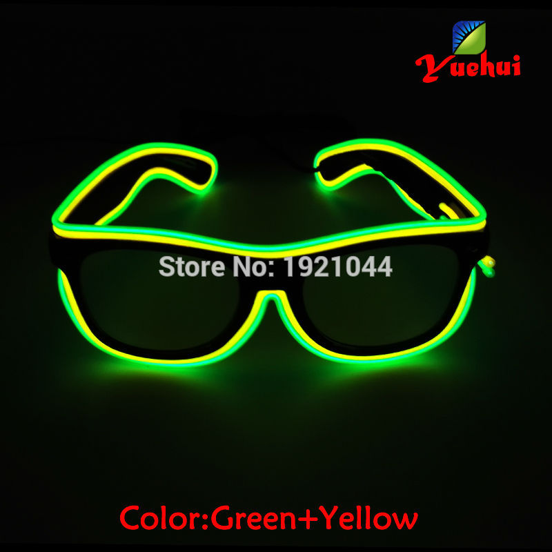Two Color Sound Activated EL wire Led Glasses Sunglasses Colorful Glowing Glasses For Dance Festival Holiday Party decoration