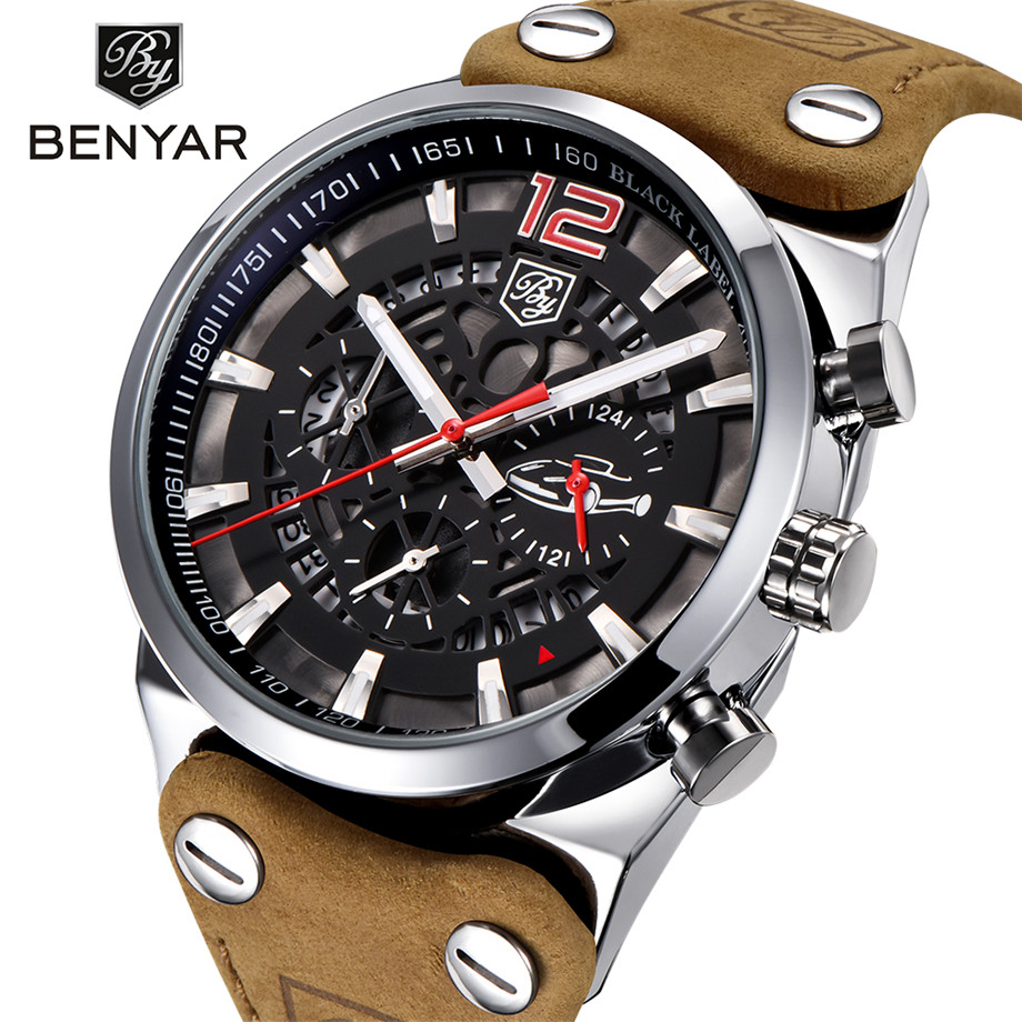 BENYAR Mens Skeleton Watch Military 3ATM Waterproof Chronograph Sport Tactical Man Watches Genuine Leather Band Dress Male Clock