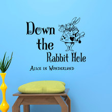 Alice In Wonderland Wall Sticker White Rabbit With Down The Rabbit Hole Quotes Vinyl Wall Mural Kids Nursery Bedroom Decor D-321 цена