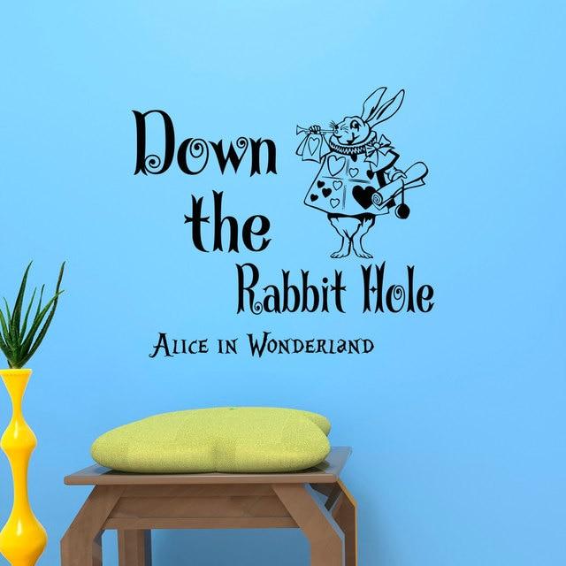 alice in wonderland wall sticker white rabbit with down the rabbit