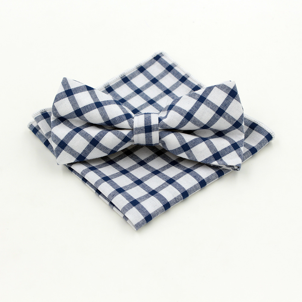 Cute! Fashion Microfiber Jacquard Men's Cotton Grid  Bow tie Hanky Set Bowtie for Men Pocket Square Wedding Grooms Butterfly S26