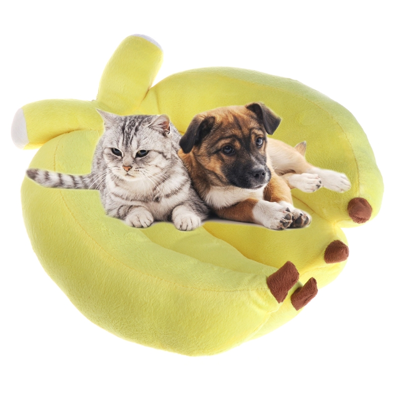 Cute Banana Shape Winter Warm Dogs Cats Kennel House Soft ...
