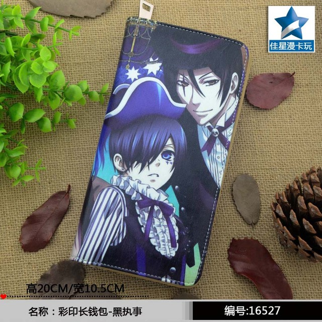 2016 Hot Selling Anime Black Butler Colorful Long PU Wallet/Cell Phone Purse Printed with Ciel & Sebastian