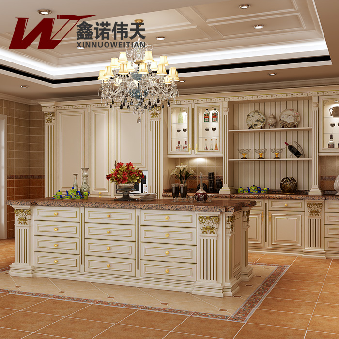 Red Cherry Solid Wood Modular Kitchen Cabinet Luxury Fashion Royal Kitchen Cabinet-in Kitchen