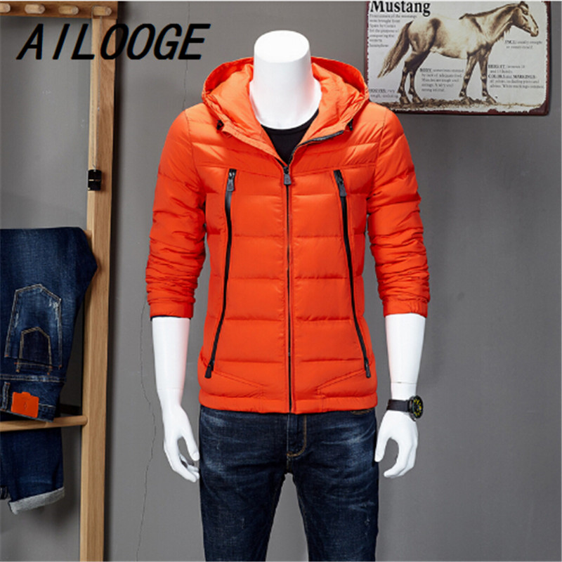 New Designs Active Mens Down Jackets Solid Zipper Hooded Parkas Coat Male Boys Windbreaker Korean Slim Winter Warm Jacket Men