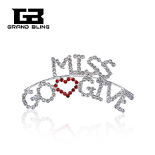 Cool Design Rhinestone Brooch Pin MISS GO Love GIVE  Word FREE SHIPPING!!!