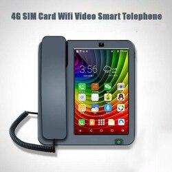 3g 4g sim cartão android telefone fixo inteligente tela de toque chamada vídeo telefone com gravação wi-fi para telefones fixos de negócios em casa