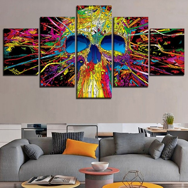5 PANEL ABSTRACT SKULL WALL POSTER