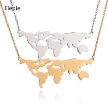 Eleple Titanium Stainless Steel Fashion Globe Map Necklaces Female Unique Simple Party Gifts Necklace Jewelry Wholesale S-N91