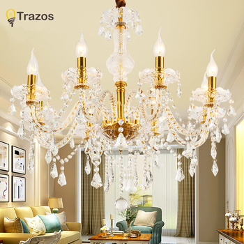 hot selling smoked k9 crystal chandelier lustre crystal chandeliers lustres de cristal chandelier e14 led ac lampshades included New Modern Gold crystal chandeliers for Living room Bedroom indoor lamp K9 crystal E14 lustres de teto Luxurious chandelier
