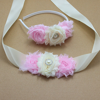 PINK AND IVORY shabby flower Sash and headband with pearl wedding Bridal Belt Dress gown sash girl dress hair accessories