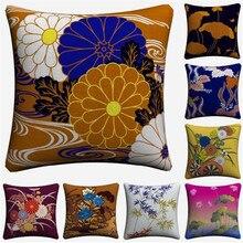 Hojas de bambú Floral Lotus Vintage funda de cojín de lino decorativo para sofá silla 45x45cm funda de almohada para decoración de hogar