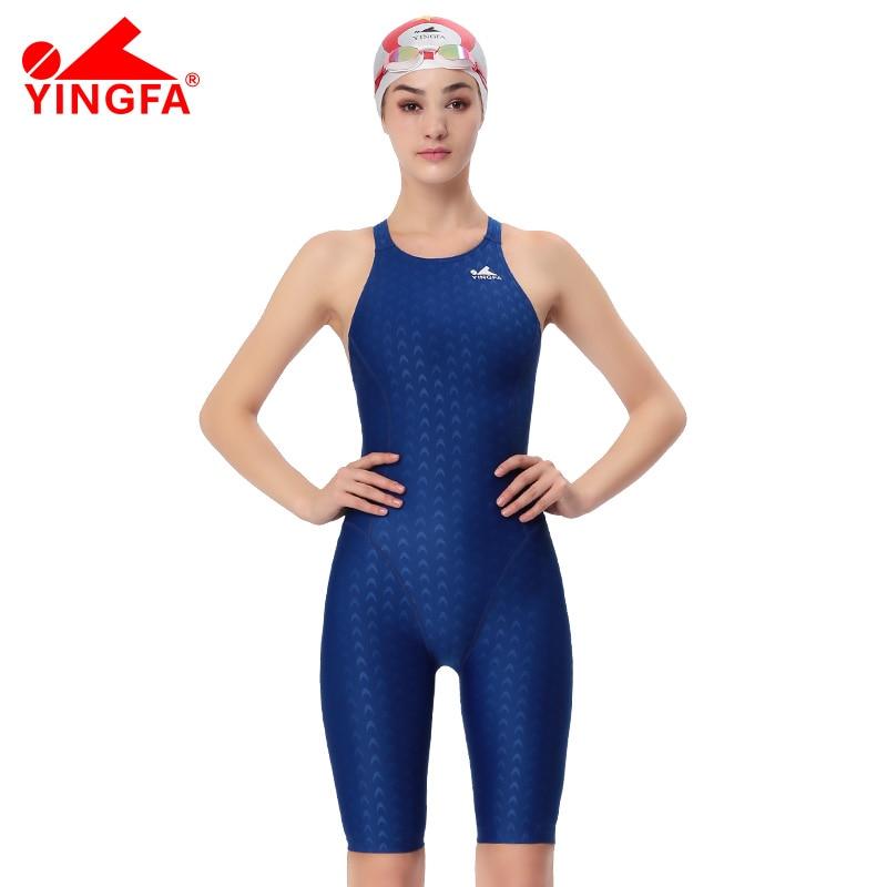 Yingfa FINA Aprobación Natación de mujeres rodilla Traje de baño Competición deportiva Tight body completo Traje de baño