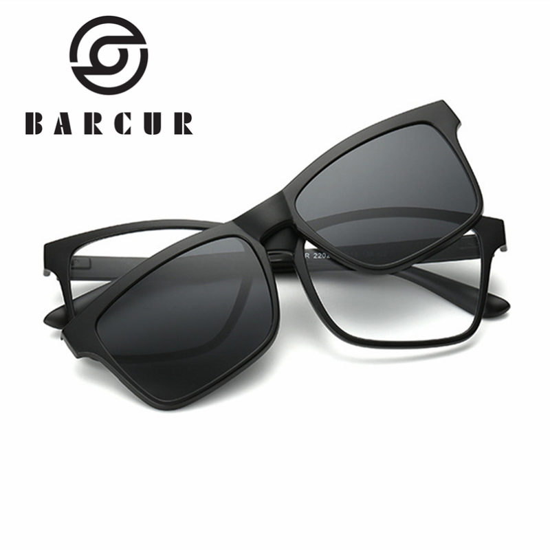 BARCUR TR90 Polarized Sunglasses TR90 Rectangle Optical Frames Magnetic Sunglasses Magnetic Man Women TR90 Glasses