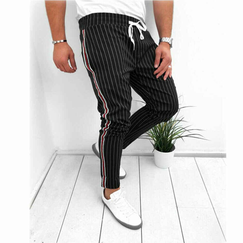 Pantalones casuales de hombre hasta el tobillo correa elástica rayas Jogger deportes Fitness Sweatpants pantalones largos