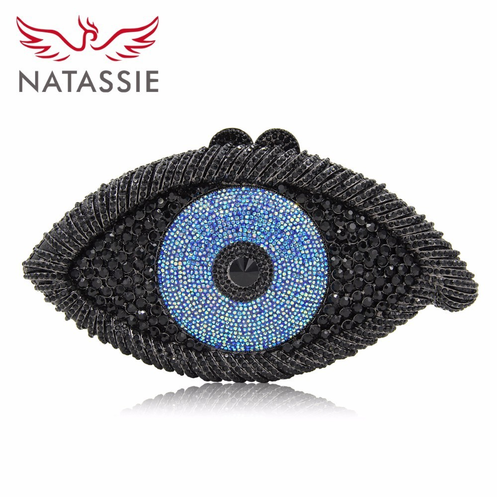 NATASSIE The Evil Eye Shape Women Evening Bags Ladies Clutch Bags Female Party Clutches Purse With Chain