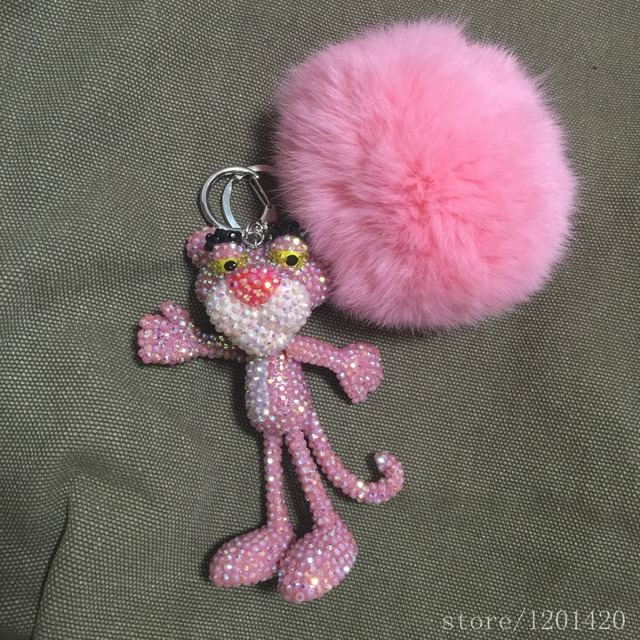 Pink Rhinestone Panther Keychains Real Fur Ball Puffs POMPOMS keyring tigger the pink bling purse charm bag charm