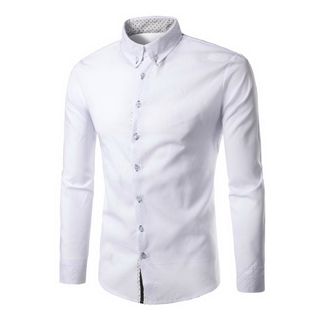 2017 New Fashion Brand Men Shirt Neckline Dots Decoration Dress Shirt Long Sleeve Slim Fit Camisa Masculina Casual Male Shirt