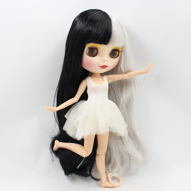 TBL Neo Blythe Doll Black Grey Hair Jointed body