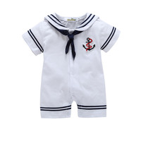 Baby Super Handsome White Cotton Short Sleeved Navy Sailor Suit Baby Romper Climbing Clothing Baby Overall
