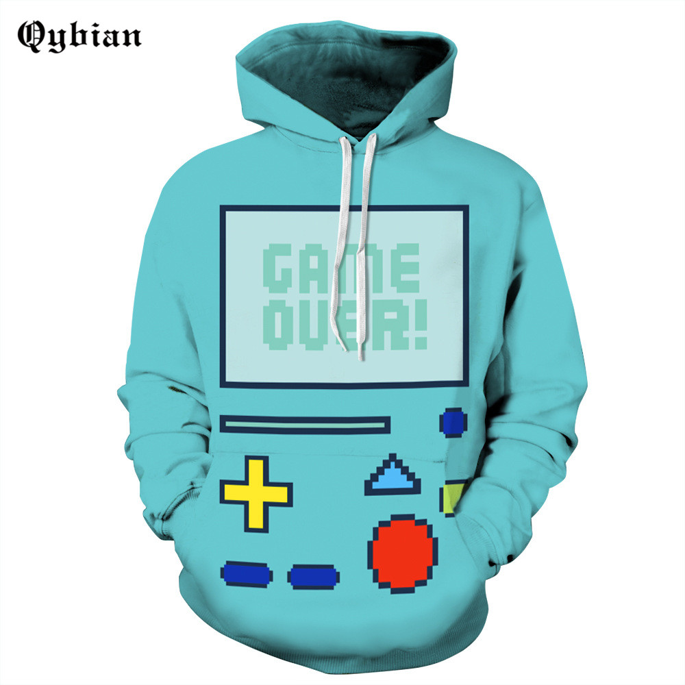 Qybian 2017 Fashion Blue game button printed Hooded Funny Men Women Hoodies Fitness Streetwear Hip-hop Tracksuits Pullover Sweat