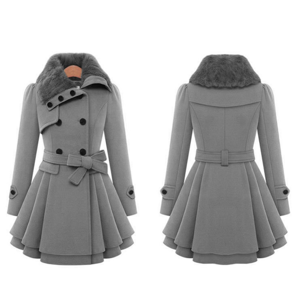 d894ef9b2 US $28.99 20% OFF|Winter Coat Women Trench Coat Turn down Collar Long  Sleeve Peacoat Faux Fur Double Breasted Thick Plus Size New Fashion  Outwear-in ...