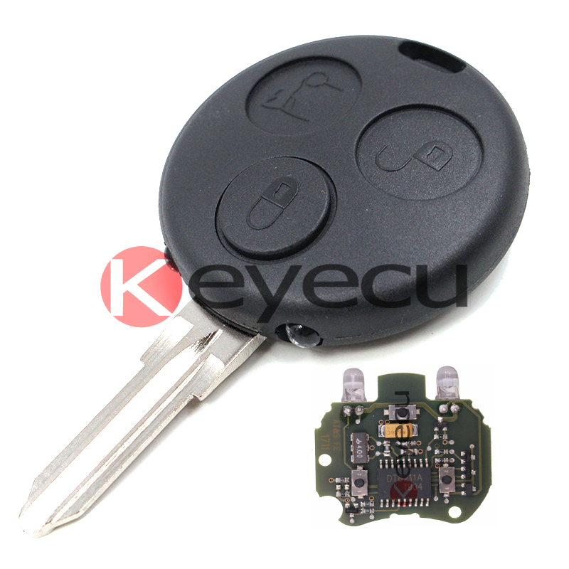 New Uncut Remote Key Fob 3 Button 433MHz for Smart Fortwo Forfour City With 2 Infrared Lights free shipping 1piece 2 button remote key mit11 uncut blade with 46 chip 433mhz for mitsubishi