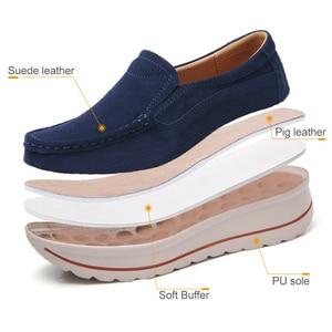 Image 3 - STQ 2020 Autumn Women Flats Shoes Platform Sneakers Shoes Leather Suede Platform Shoes Slip On Flats Creepers Moccasins 3507