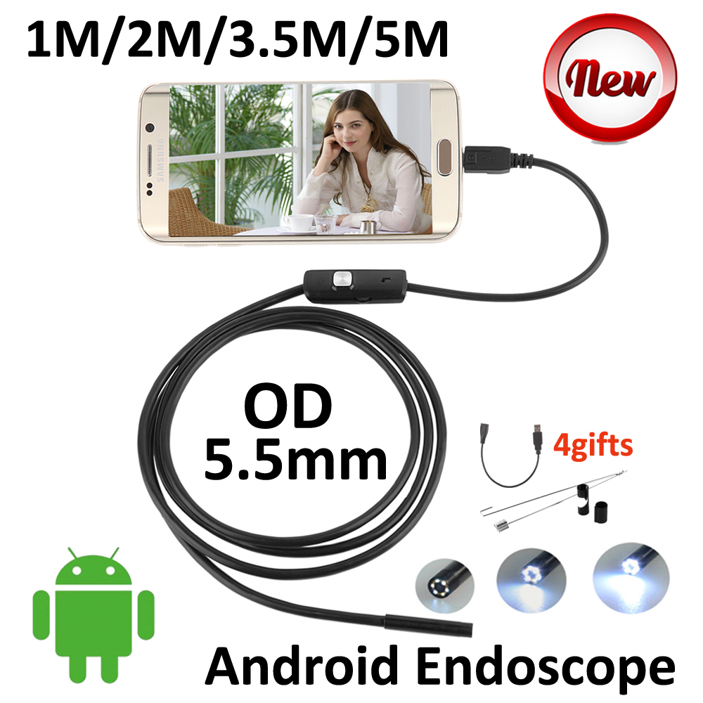 5.5mm Micro USB Android Endoscope Camera 5M 3.5M 2M 1M Snake USB Inspection Smart Android USB Borescope Android OTG Snake Camera eyoyo nts200 endoscope inspection camera with 3 5 inch lcd monitor 8 2mm diameter 2 meters tube borescope zoom rotate flip