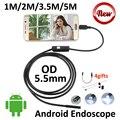5.5mm micro usb android endoscópio camera 5 m 3.5 m 2 m 1 m Cobra Endoscópio USB cobra Inspeção Inteligente Android USB OTG Android câmera