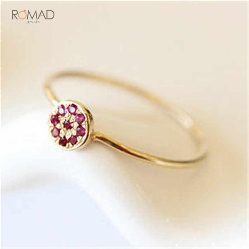 Romad الأحمر زهرة الزركون خواتم الزفاف للنساء مجوهرات النمسا بلورات الذهب اللون خواتم الخطبة الإناث هدية