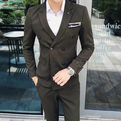 スーツのジャケットの男性の韓国語バージョン野生のウェディングドレス花婿の付添人ドレスビジネスカジュアルダブルブレスト小さなスーツ