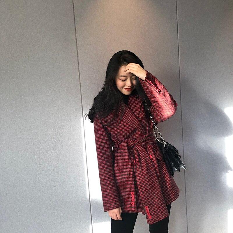 Europäische Marke Neue Designer 2019 Herbst frauen Vintage Plaid Blazer feminino Zweireiher Jacke - 2