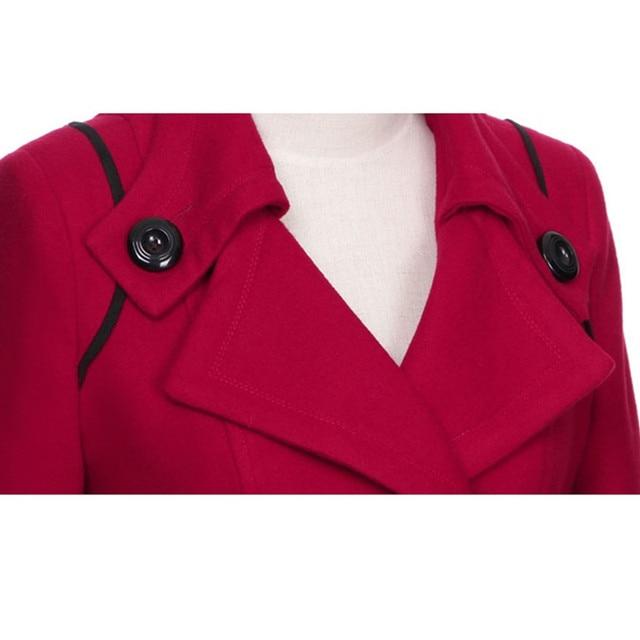 YAGENZ M-3XL Autumn Winter Wool Jacket Women Double Breasted Coats Elegant Overcoat Basic Coat Pockets Woolen Long Coat Top 200 36