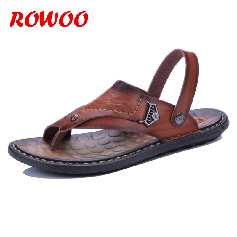 England Cow Leather Men Sandals Black Brown Sewing Men Summer Shoes Breathable Beach Shoes Summer Men Shoes Male Slippers