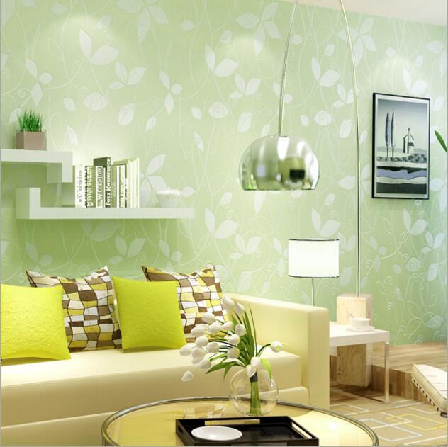 Nature Non woven 3D Leaf Solid Color Bedroom Wallpaper 3D Wall ...