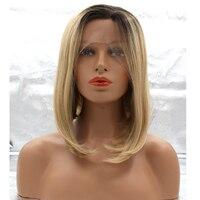 DLME Ürünleri 14 inç kısa Bob tarzı kâğıt oyunu Sarışın Japon ısıya dayanıklı fiber sentetik dantel ön peruk için kadın