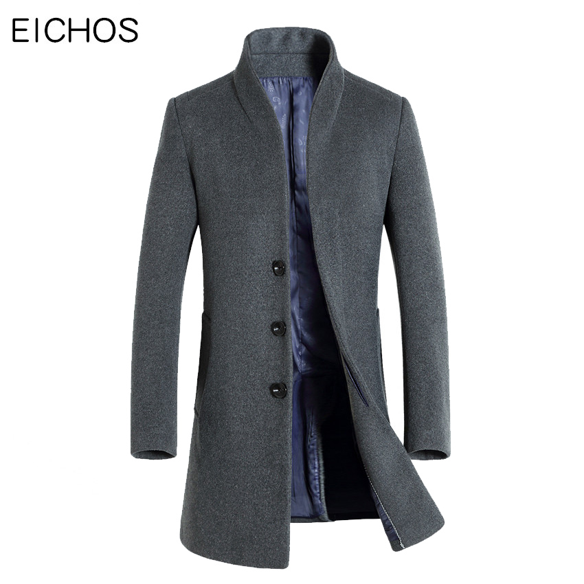 Wool & Blends Eichos Autumn Mens Wool Coat Slim Middle Long Mens Coats Causal Solid Male Overcoats Cashmere Trench Coat Men Wool Blend 2018 Men's Clothing