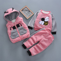 2019 New Baby Winter Clothes Set Velvet Thicken Three Set Kids Newborn Boy Girl Suit Warm Tracksuit For Bebe Clothes