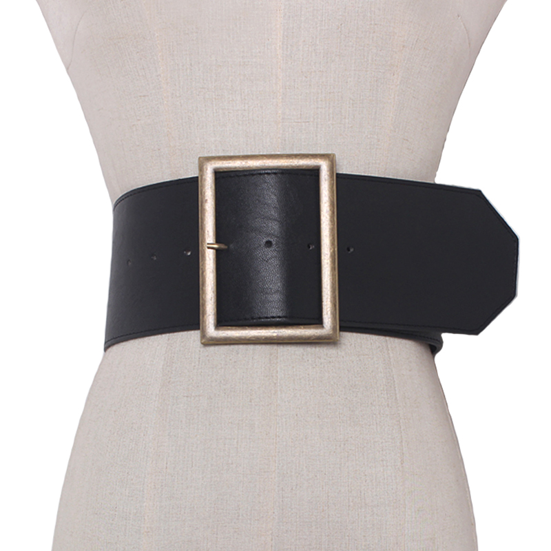 2019 Fashion Metal buckle wide leather   belt   Punk cool   belts   exaggerate heavy metal wide   belts   hip hop leather pu   belt   women Gift