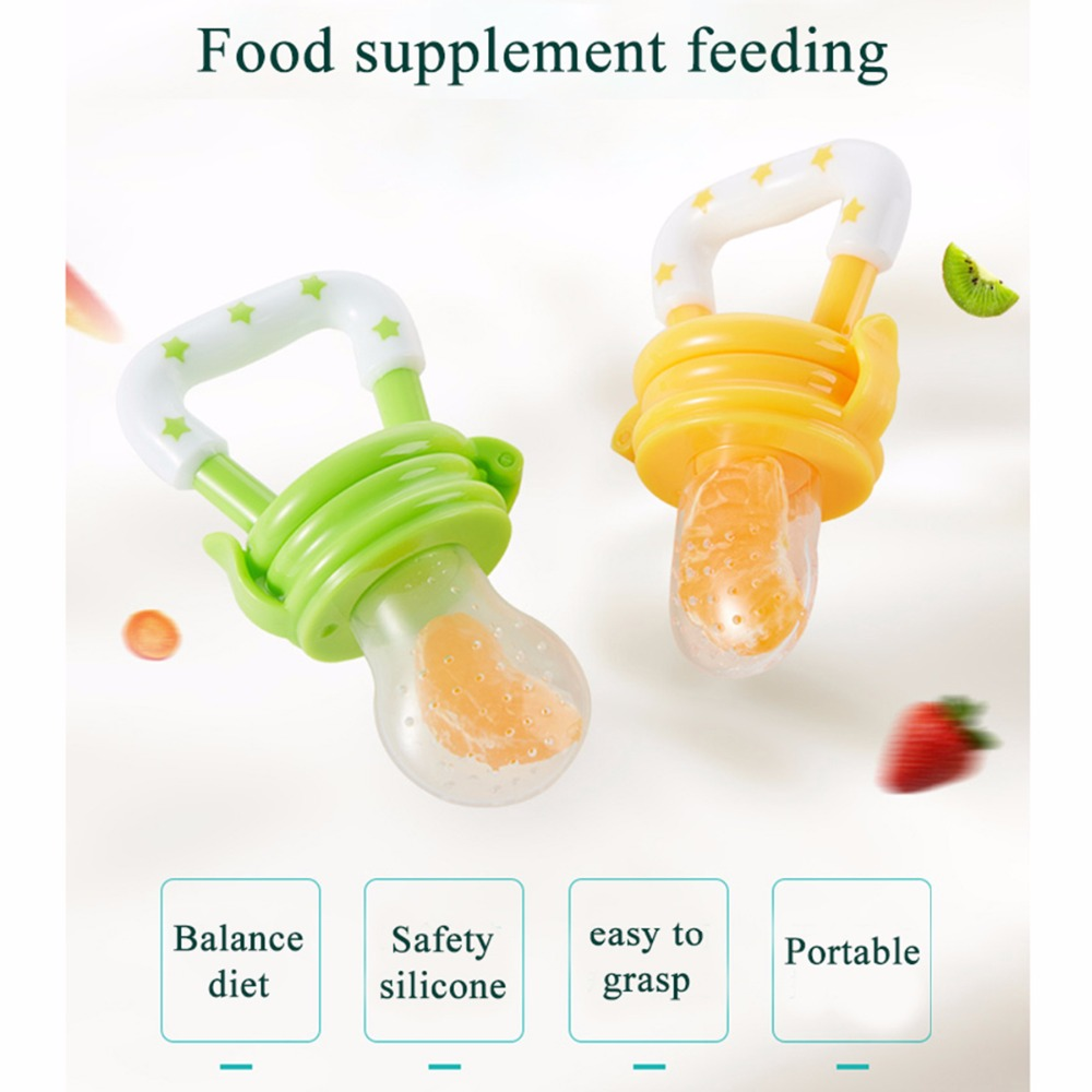 Portable Baby Food Fruit Nipple Feeder Pacifier Safety Soft Silicone Feed Tool