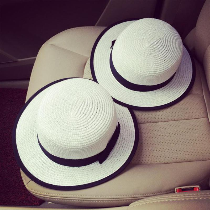 4b6a62cc291 England Black Bow Summer Hats For Women Chapeu Feminino Beach Hat Sun Visor  Wide Brimmed Panama Hat Sombrero Mujer Chapeau-in Sun Hats from Women s  Clothing ...