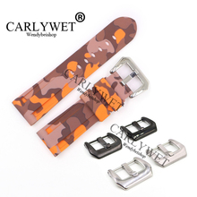 CARLYWET 24mm Camo Orange Waterproof Silicone Rubber Replacement Wrist Watch Band Strap For Luminor
